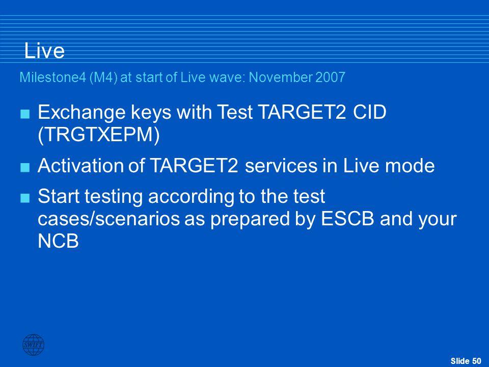 Live Exchange keys with Test TARGET2 CID (TRGTXEPM)