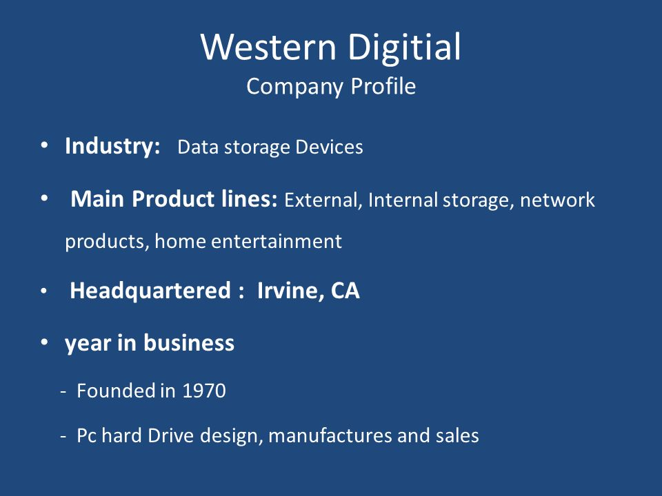 Western Digitial Company Profile