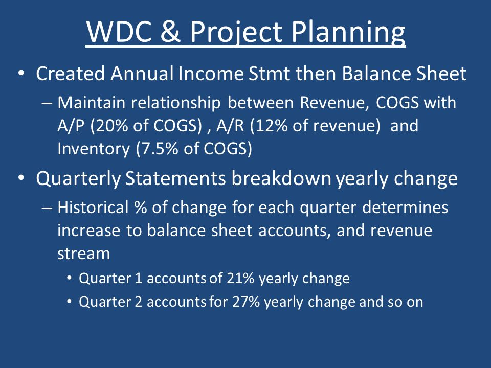 WDC & Project Planning Created Annual Income Stmt then Balance Sheet