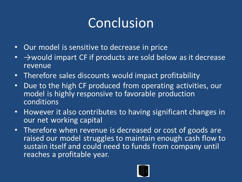 Conclusion Our model is sensitive to decrease in price