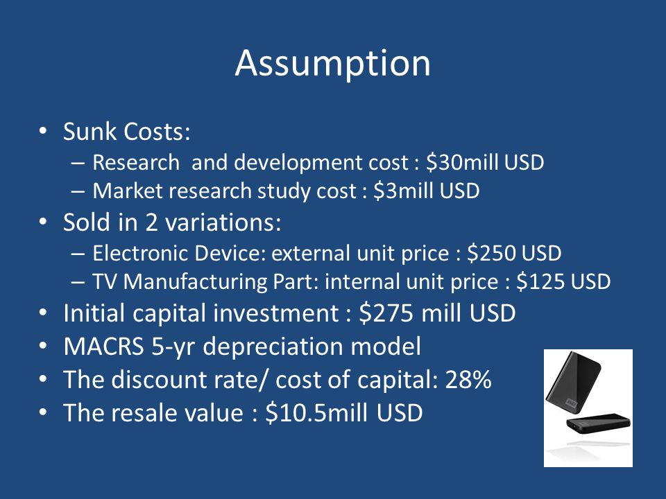 Assumption Sunk Costs: Sold in 2 variations: