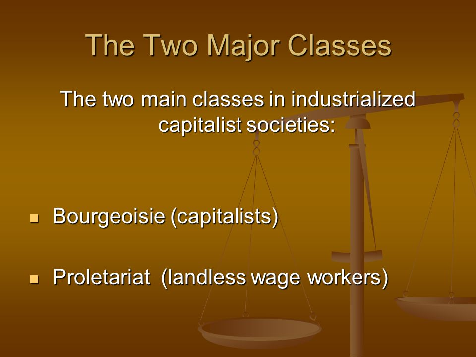 The two main classes in industrialized capitalist societies: