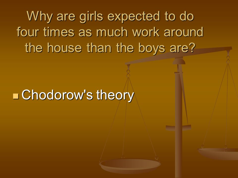 Why are girls expected to do four times as much work around the house than the boys are