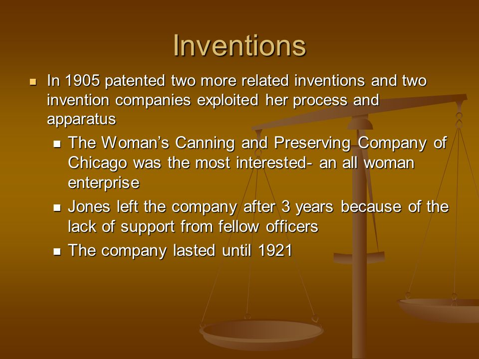 Inventions In 1905 patented two more related inventions and two invention companies exploited her process and apparatus.