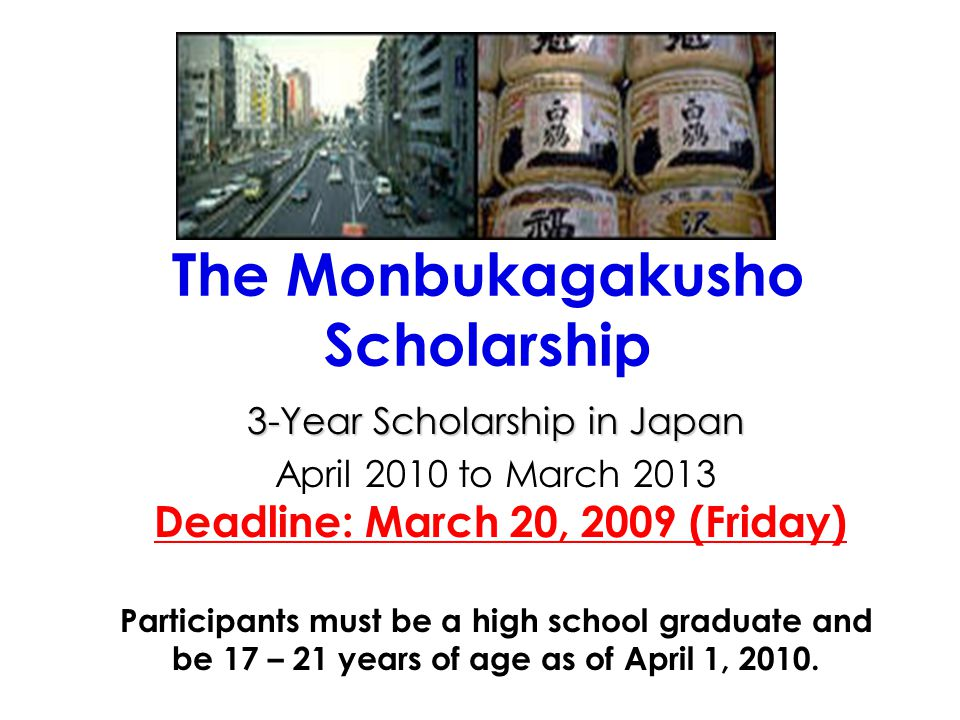 The Monbukagakusho Scholarship