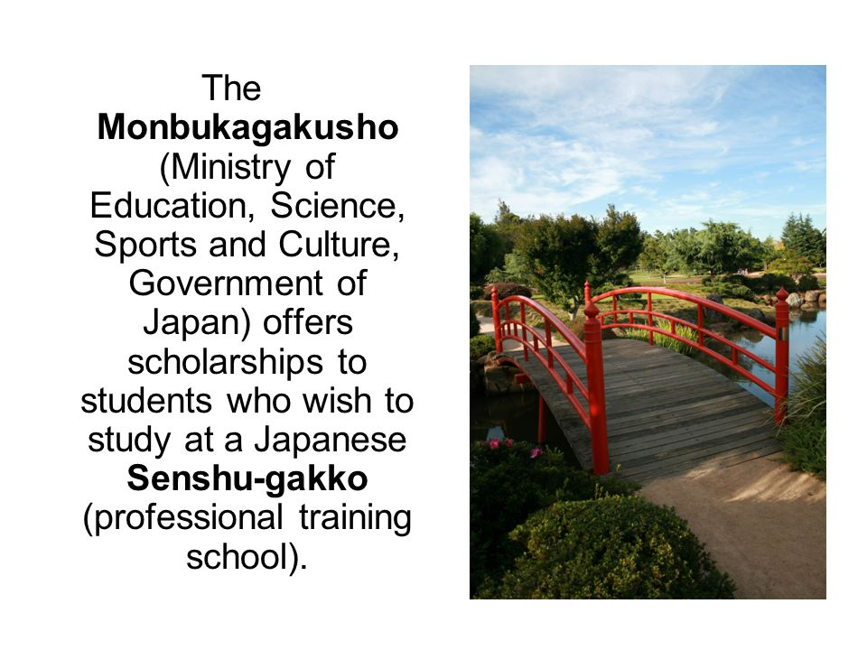 The Monbukagakusho (Ministry of Education, Science, Sports and Culture, Government of Japan) offers scholarships to students who wish to study at a Japanese Senshu-gakko (professional training school).