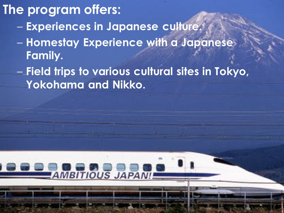 The program offers: Experiences in Japanese culture.