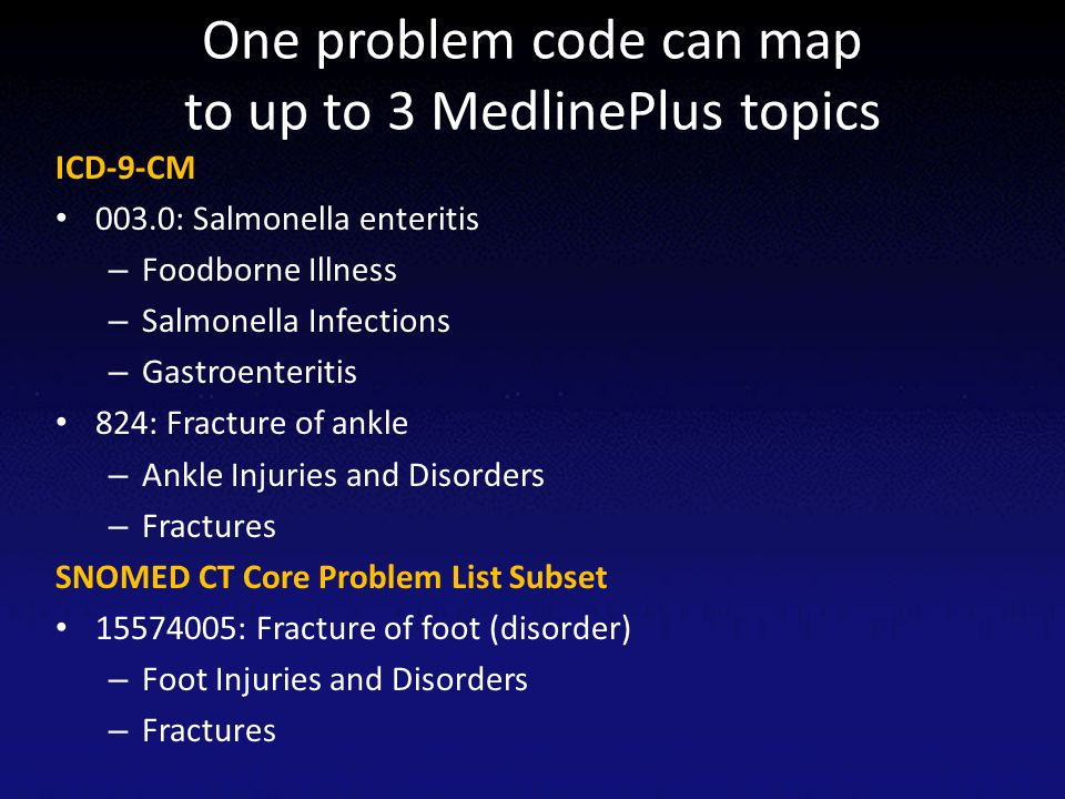 One problem code can map to up to 3 MedlinePlus topics