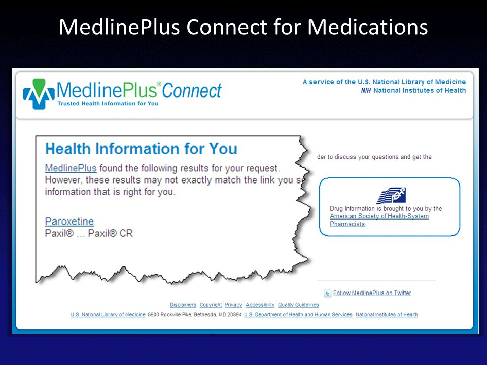 MedlinePlus Connect for Medications