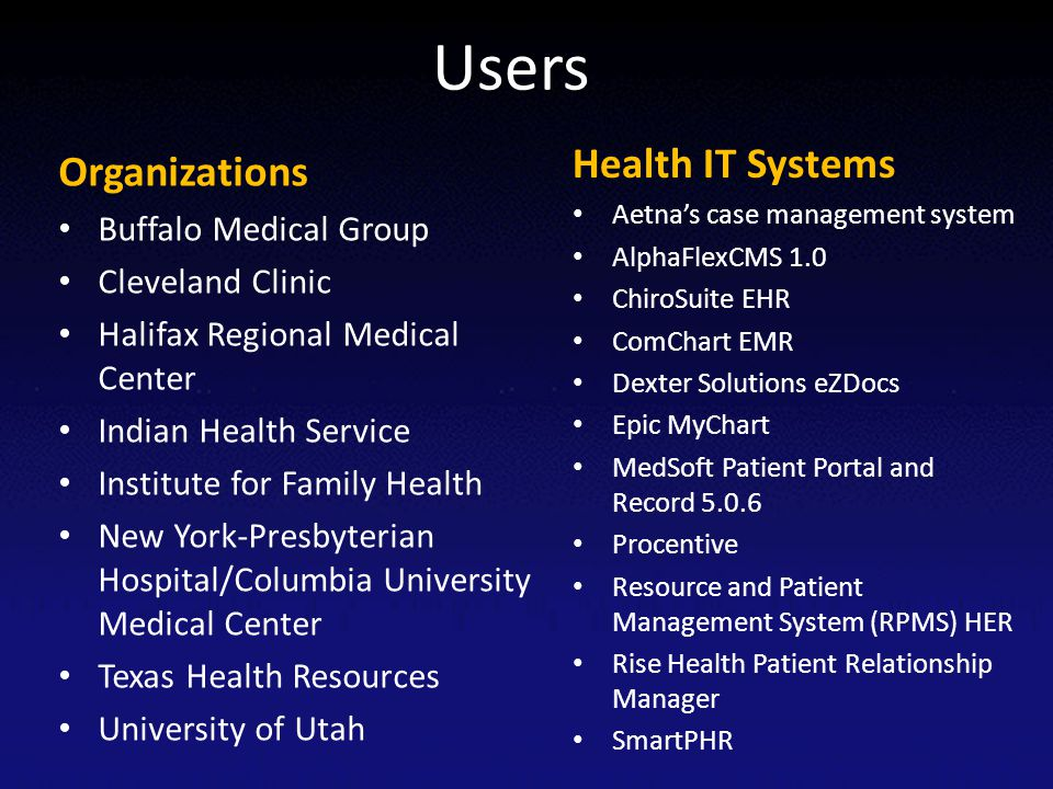 Users Health IT Systems Organizations Buffalo Medical Group