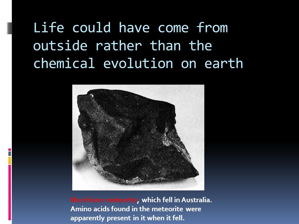 Life could have come from outside rather than the chemical evolution on earth