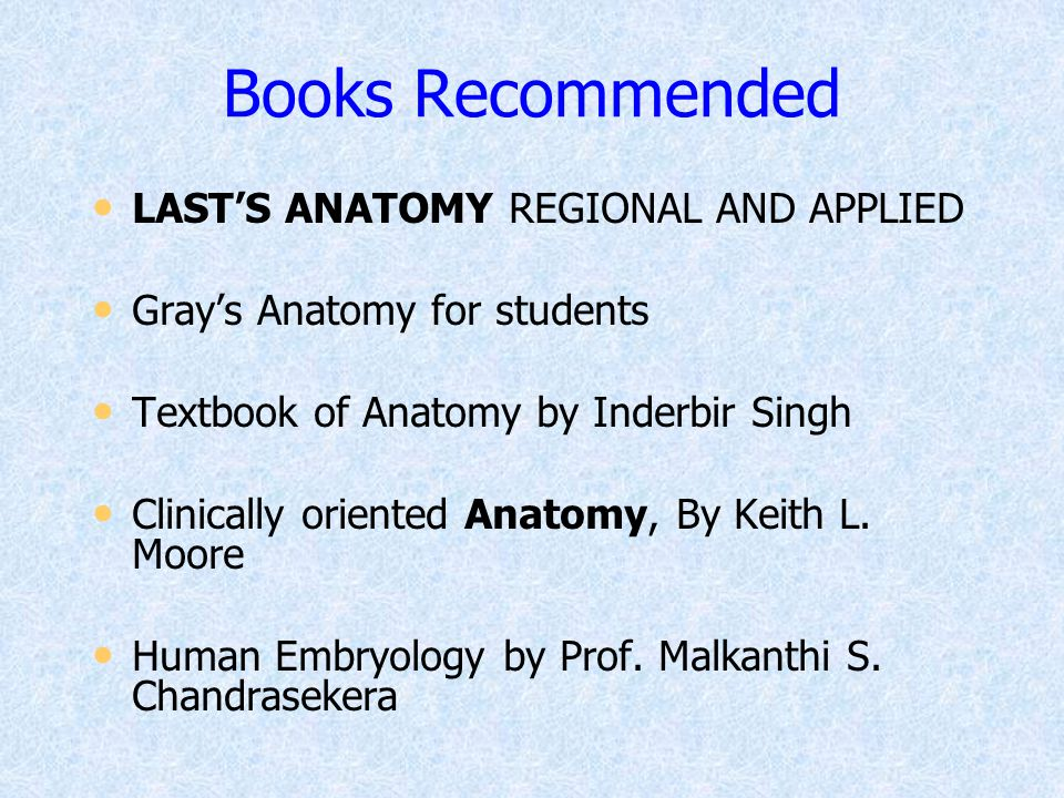 Books Recommended LAST'S ANATOMY REGIONAL AND APPLIED