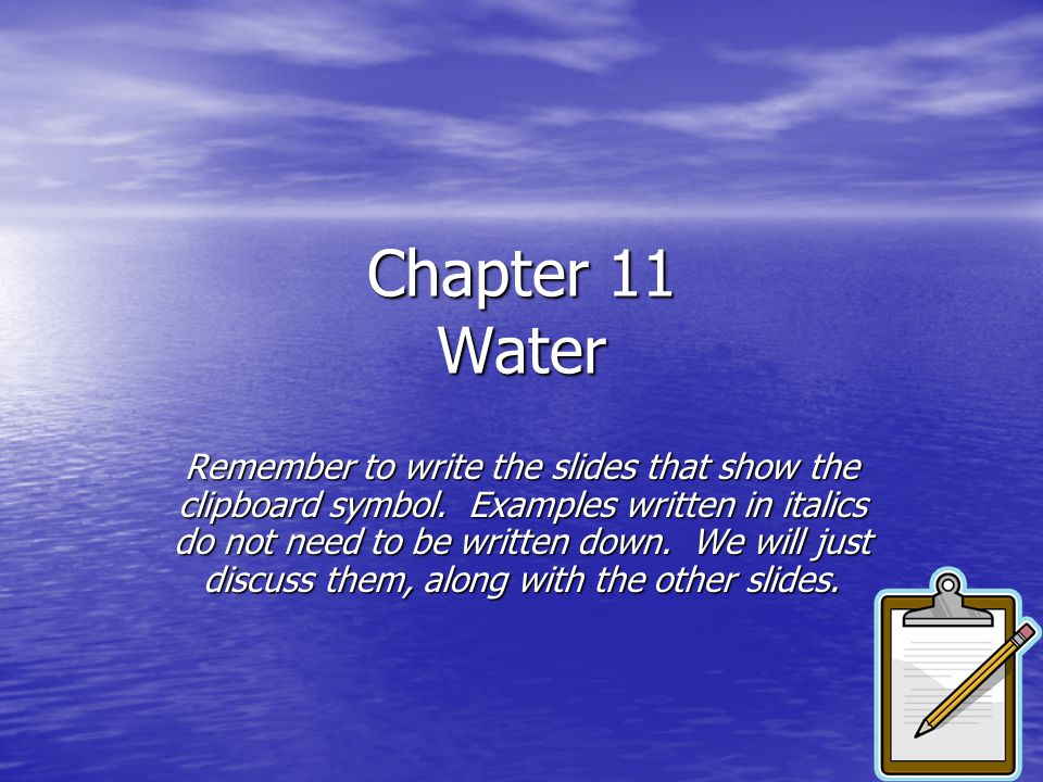 Chapter 11 Water