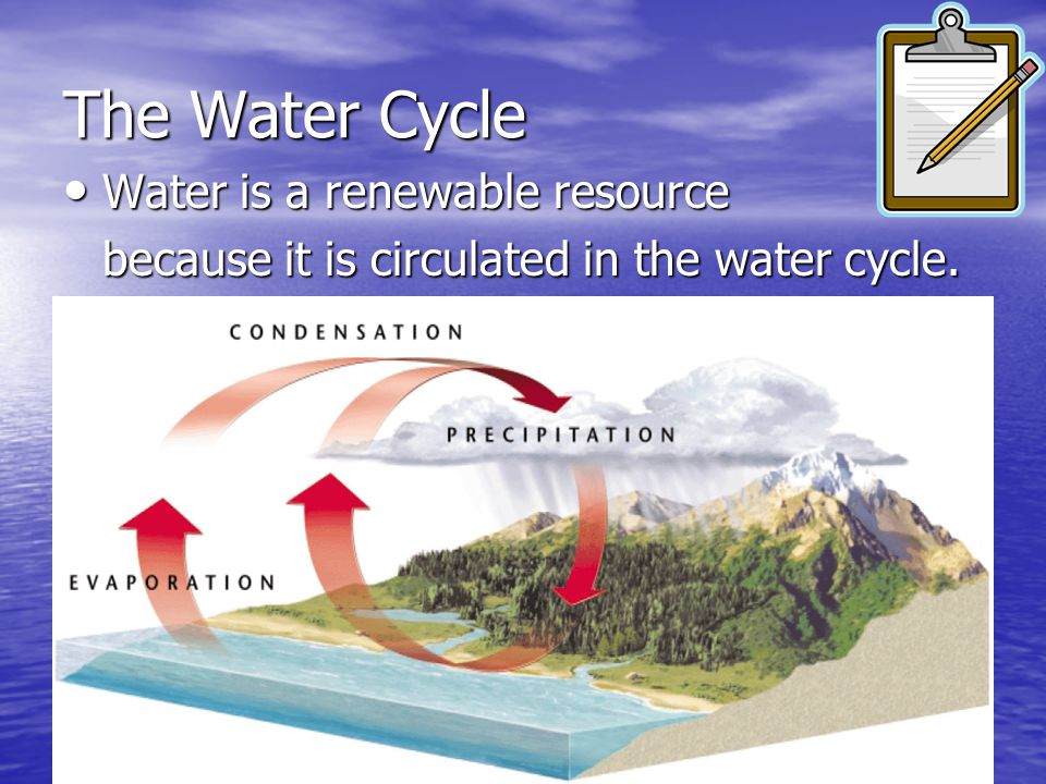 The Water Cycle Water is a renewable resource