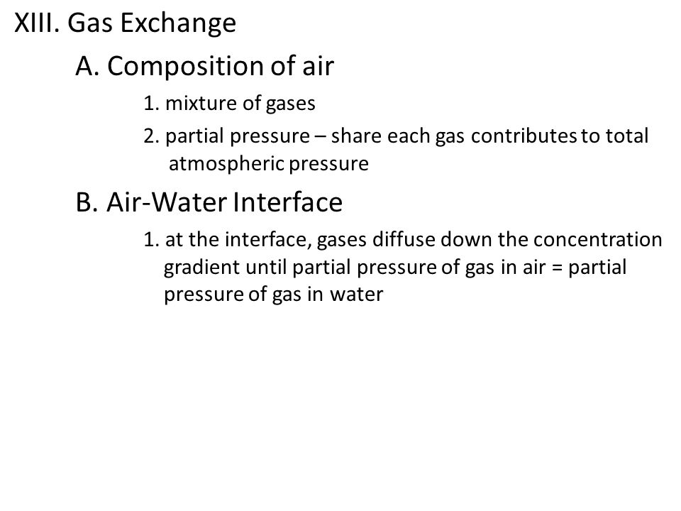 XIII. Gas Exchange A. Composition of air B. Air-Water Interface