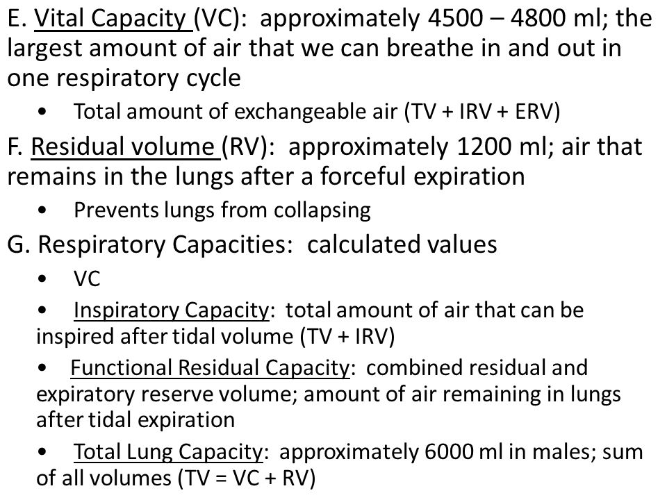 G. Respiratory Capacities: calculated values