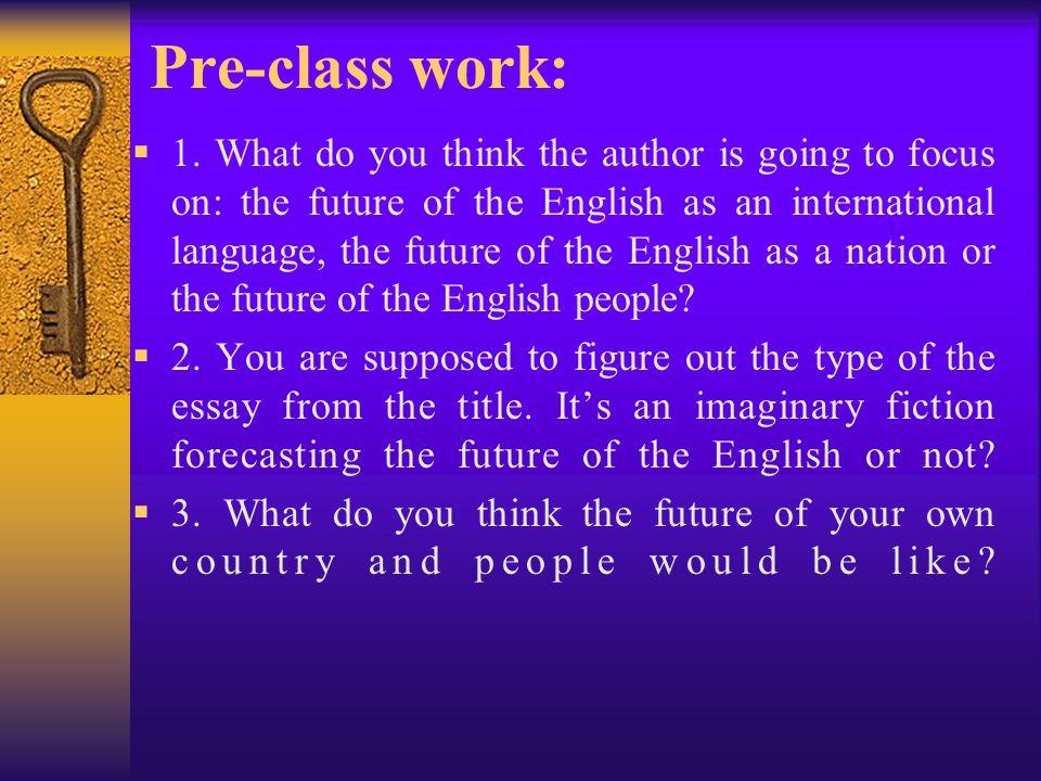 Pre-class work: