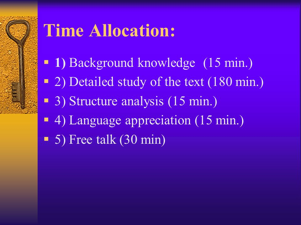 Time Allocation: 1) Background knowledge (15 min.)