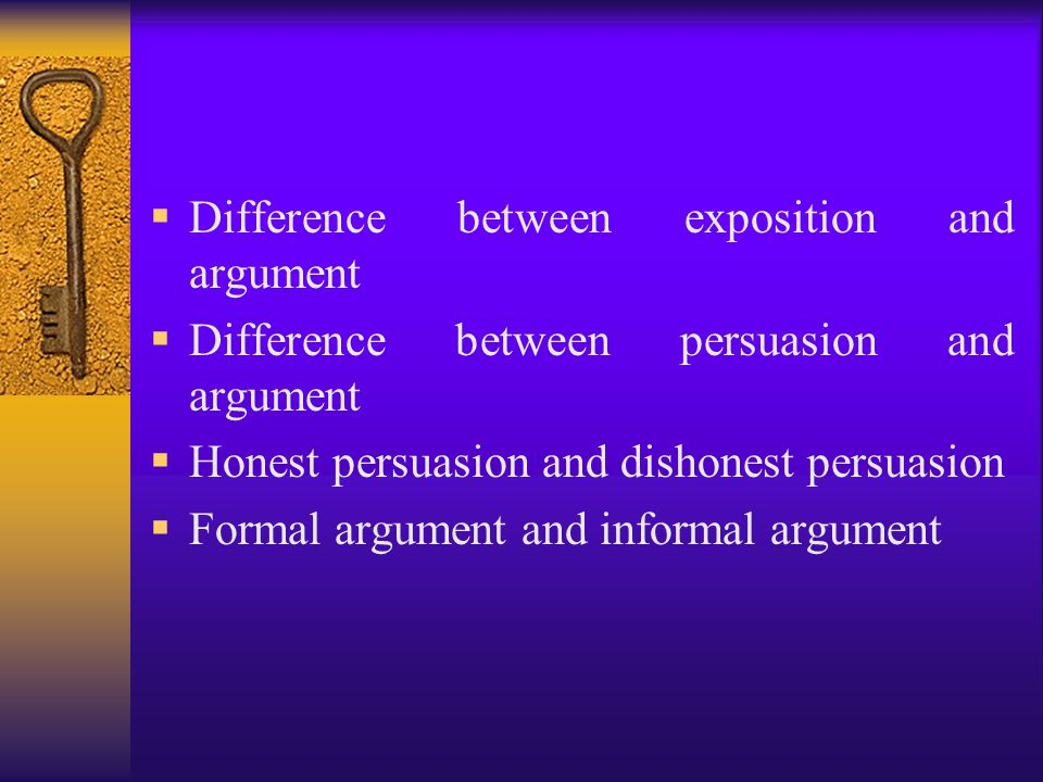 Difference between exposition and argument