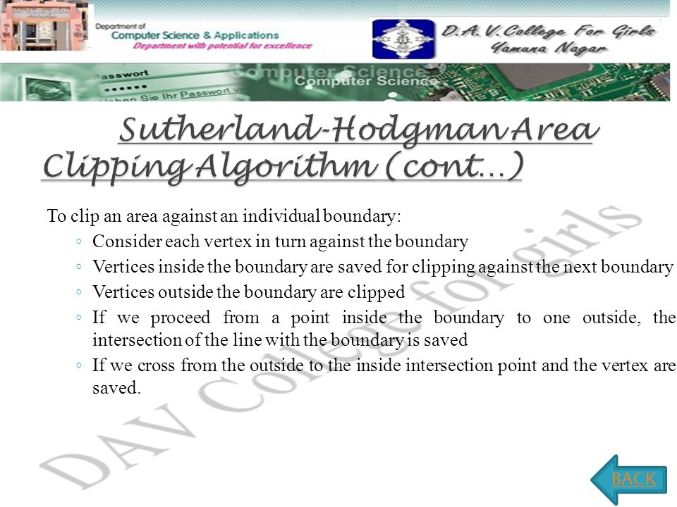 Sutherland-Hodgman Area Clipping Algorithm (cont…)
