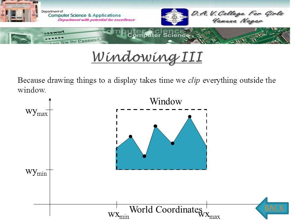 Windowing III Window wymax wymin World Coordinates wxmin wxmax