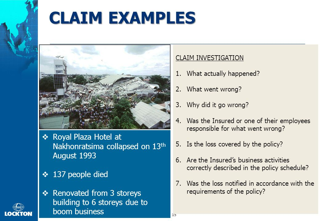 CLAIM EXAMPLES CLAIM INVESTIGATION. What actually happened What went wrong Why did it go wrong
