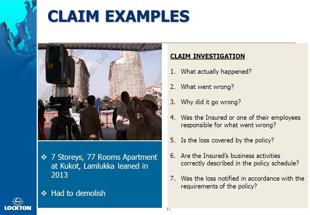 CLAIM EXAMPLES CLAIM INVESTIGATION. What actually happened Concrete Beam Cracked. What went wrong Incorrect Design.