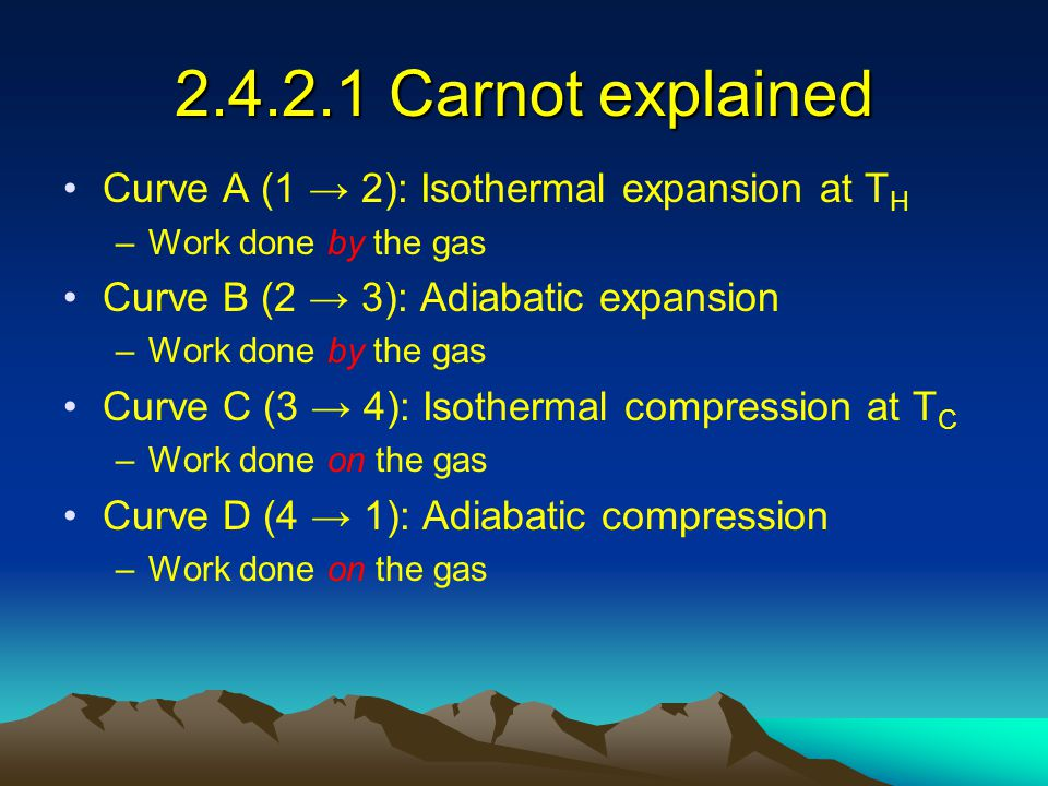 2.4.2.1 Carnot explained Curve A (1 → 2): Isothermal expansion at TH