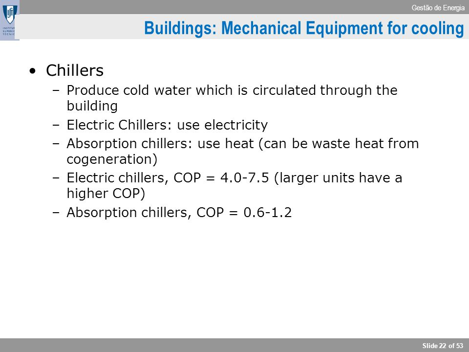 Buildings: Mechanical Equipment for cooling