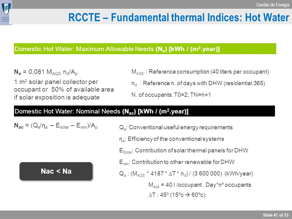 RCCTE – Fundamental thermal Indices: Hot Water
