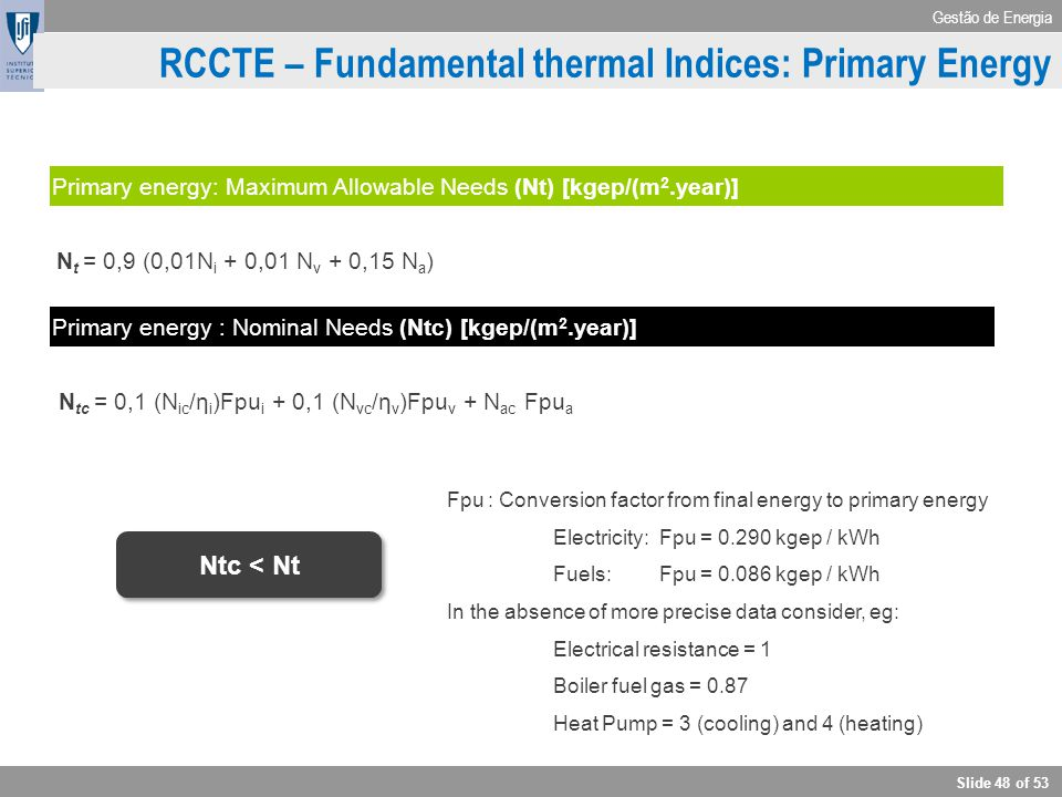 RCCTE – Fundamental thermal Indices: Primary Energy