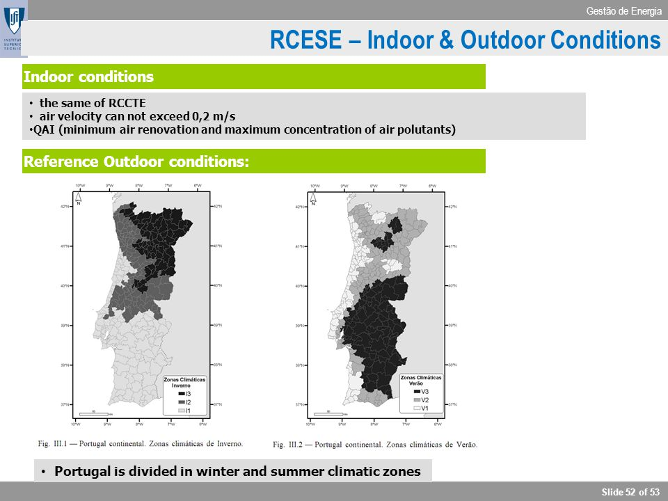 RCESE – Indoor & Outdoor Conditions