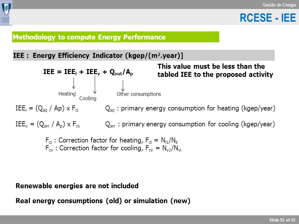 RCESE - IEE IEE Methodology to compute Energy Performance