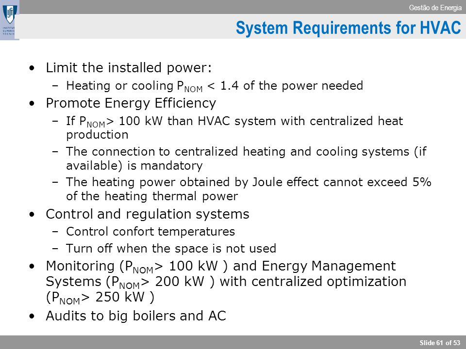 System Requirements for HVAC