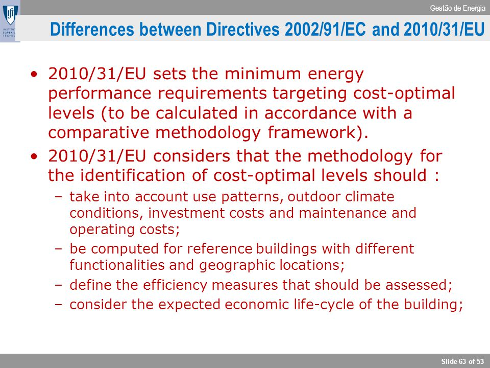 Differences between Directives 2002/91/EC and 2010/31/EU