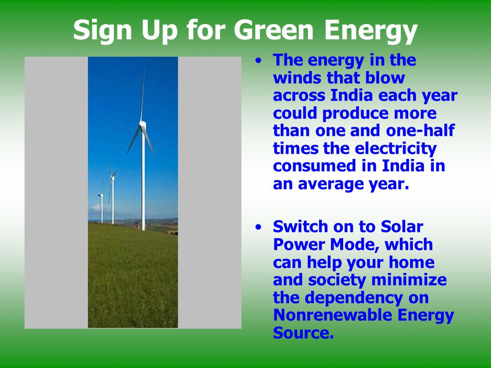 Sign Up for Green Energy