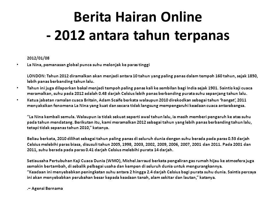 Berita Hairan Online - 2012 antara tahun terpanas