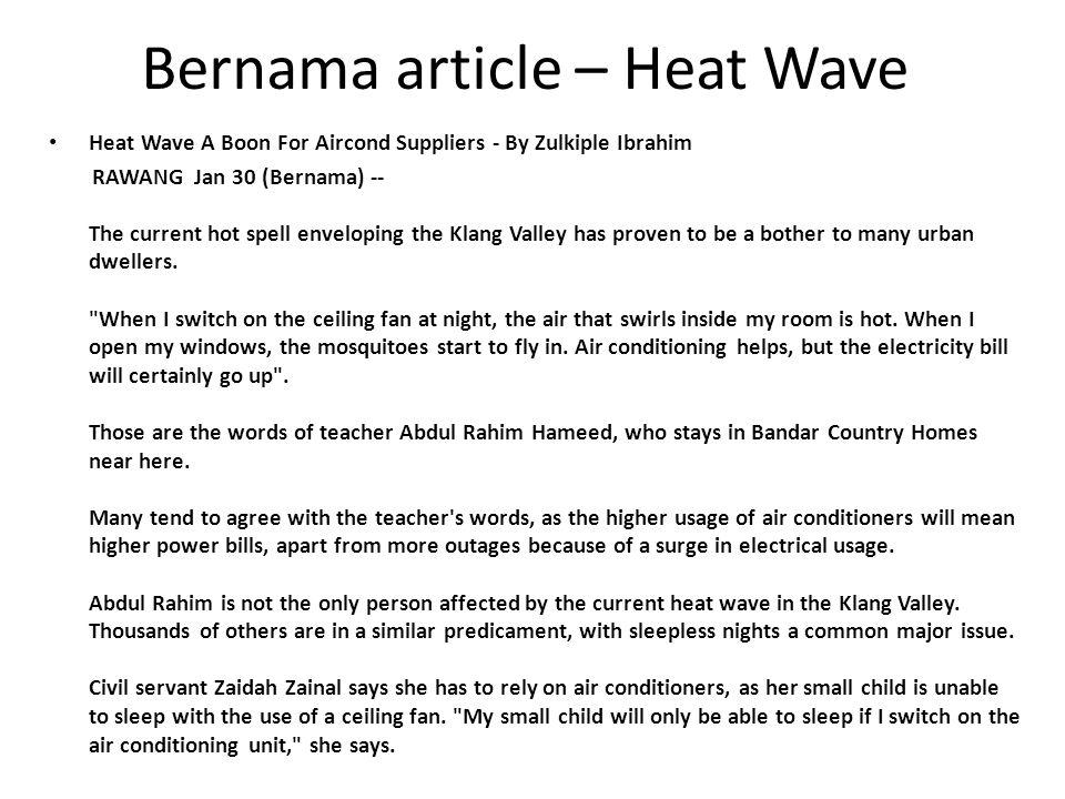Bernama article – Heat Wave