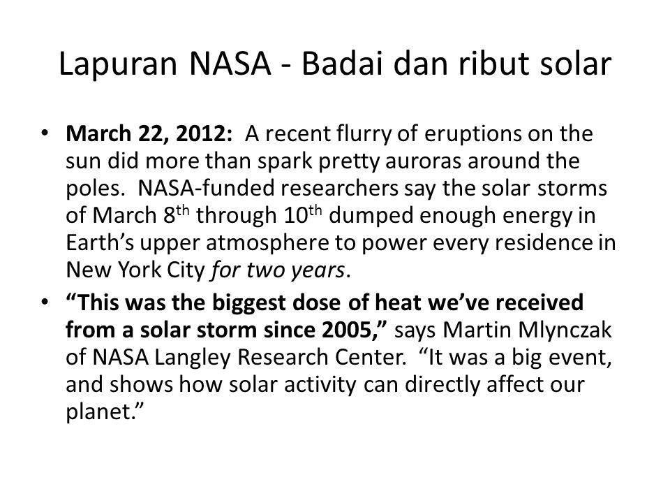Lapuran NASA - Badai dan ribut solar