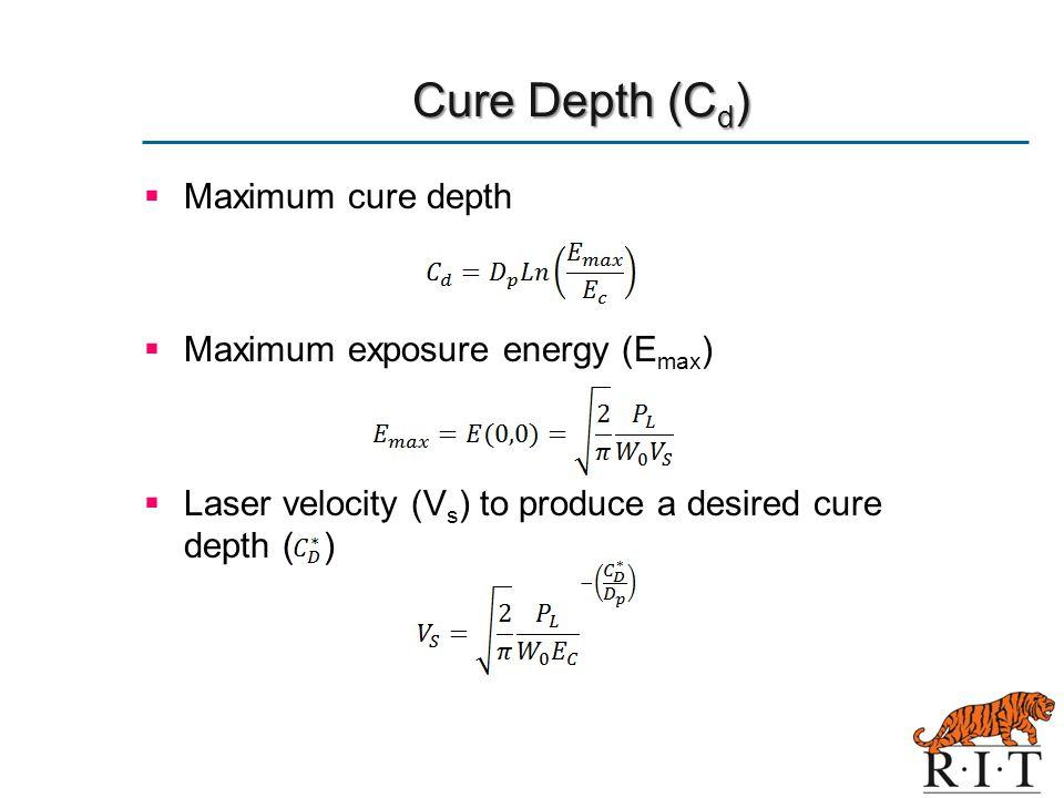 Cure Depth (Cd) Maximum cure depth Maximum exposure energy (Emax)