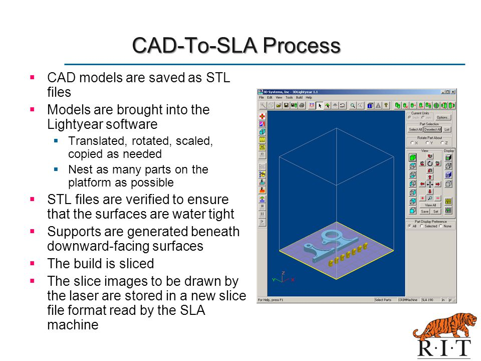 CAD-To-SLA Process CAD models are saved as STL files