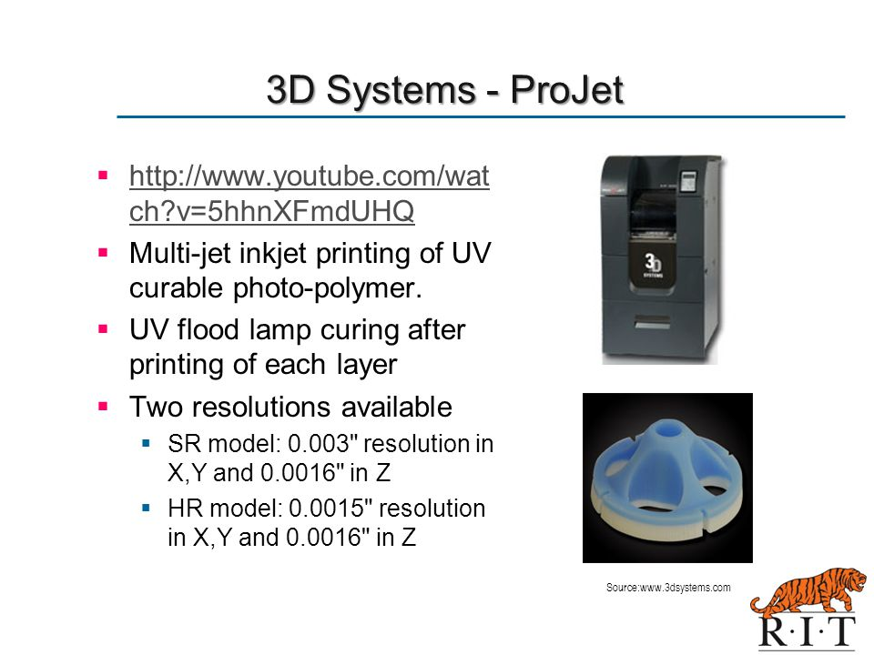 3D Systems - ProJet http://www.youtube.com/watch v=5hhnXFmdUHQ