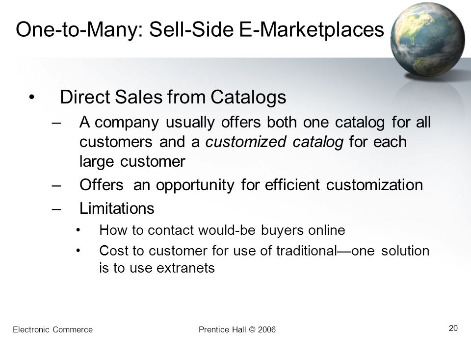 One-to-Many: Sell-Side E-Marketplaces