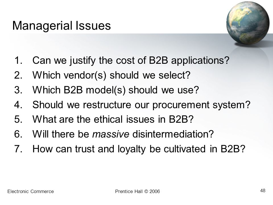 Managerial Issues Can we justify the cost of B2B applications