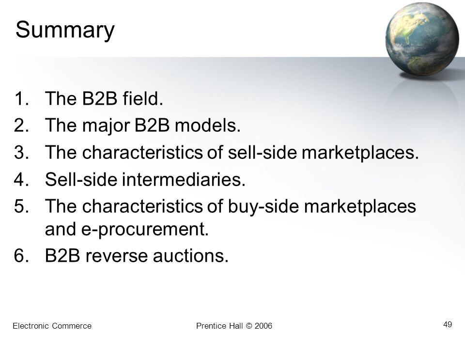 Summary The B2B field. The major B2B models.