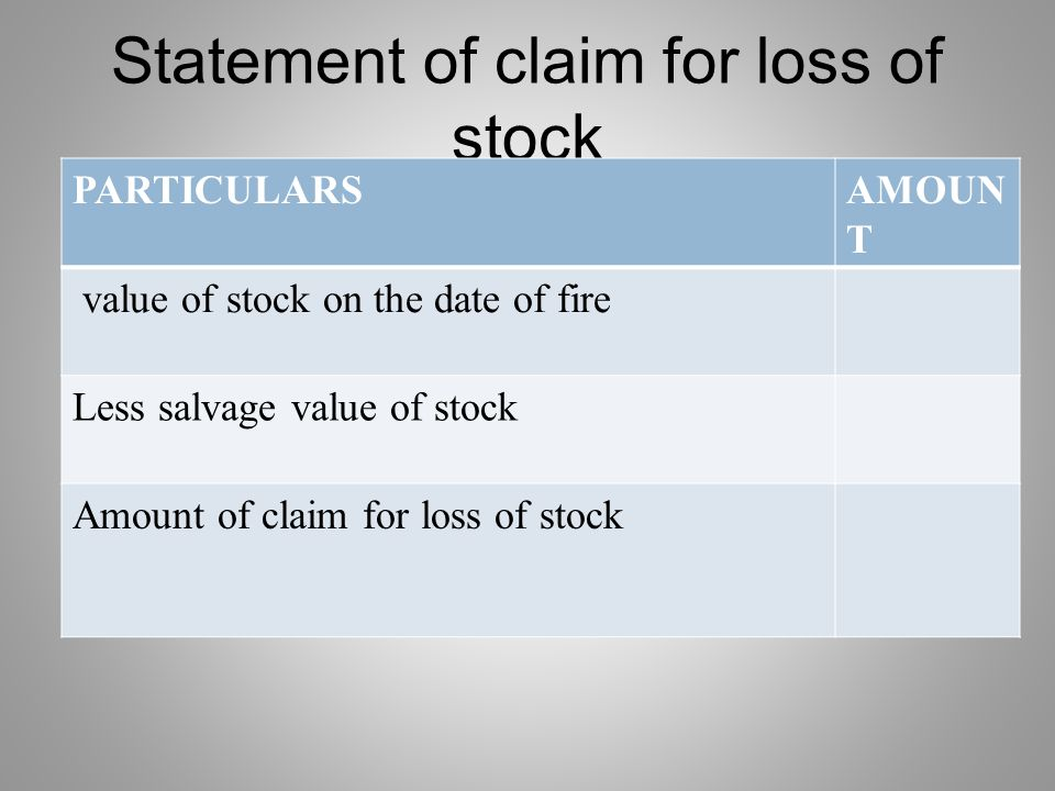Statement of claim for loss of stock