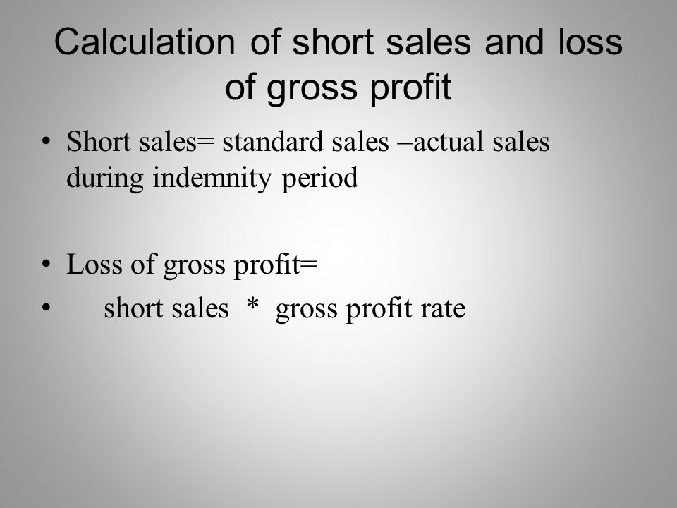 Calculation of short sales and loss of gross profit