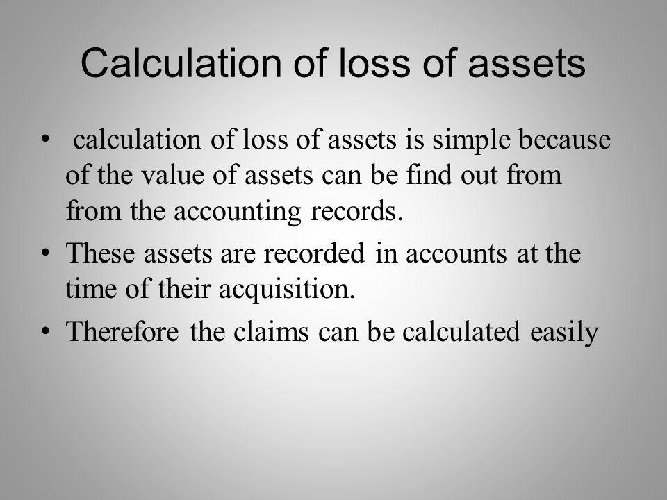 Calculation of loss of assets