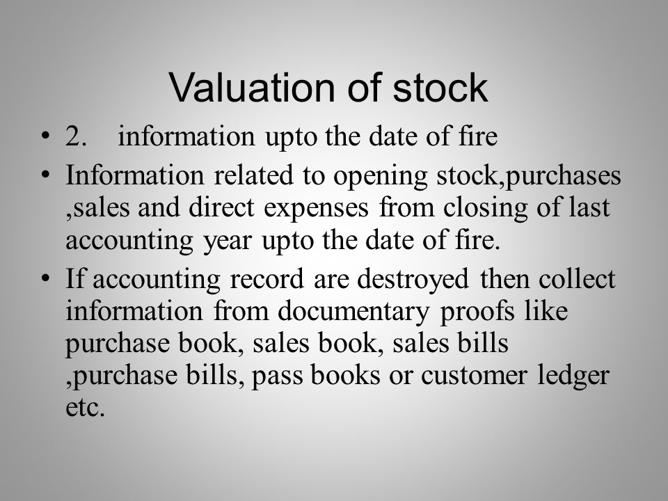 Valuation of stock 2. information upto the date of fire
