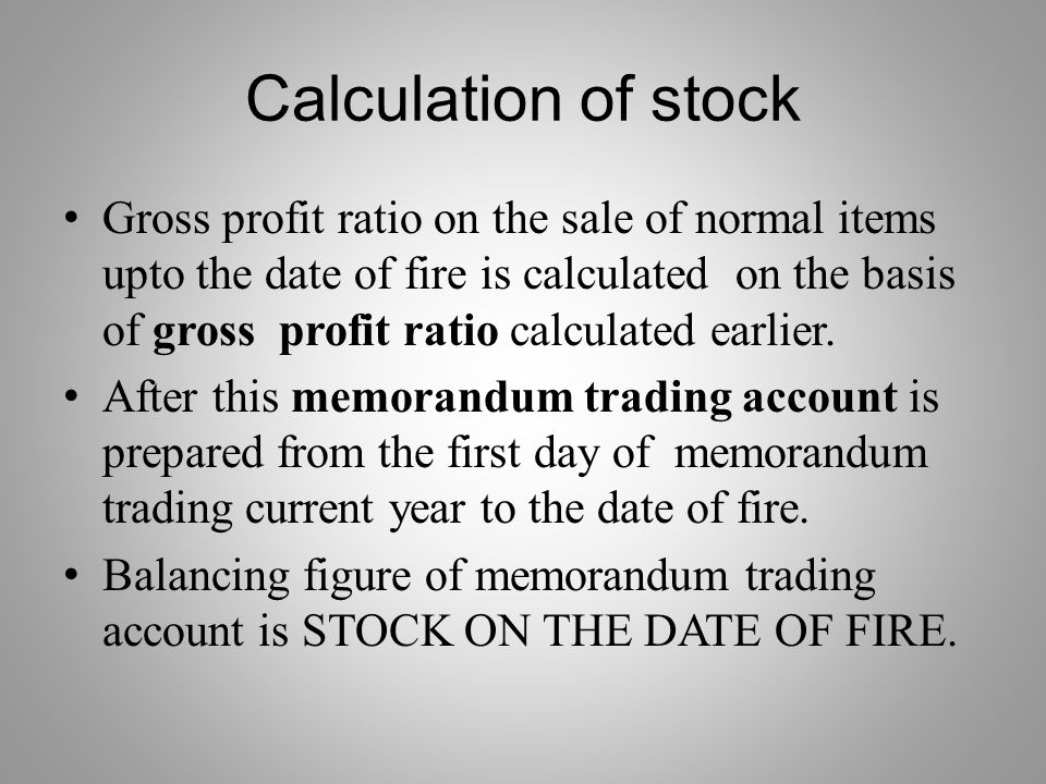 Calculation of stock